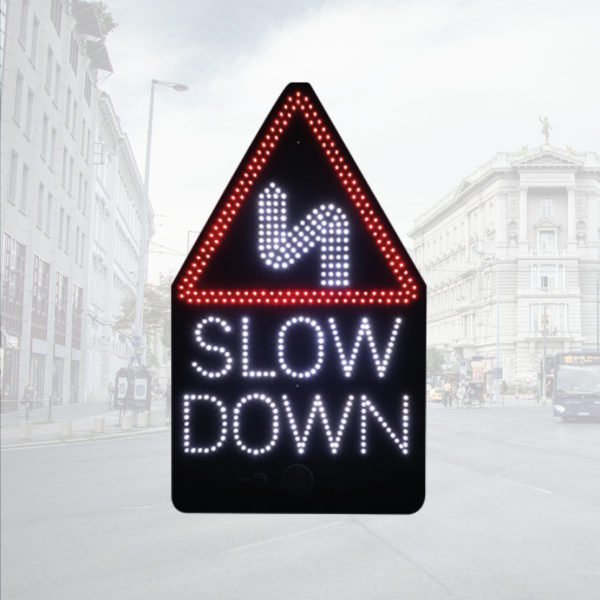 LED Triangular Warning Signs with SLOW DOWN safety message