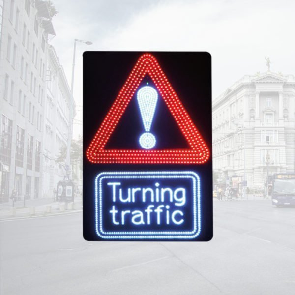 LED Triangular Warning Signs with Turning Traffic